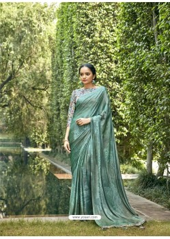 Aqua Mint Designer Party Wear Chiffon Sari