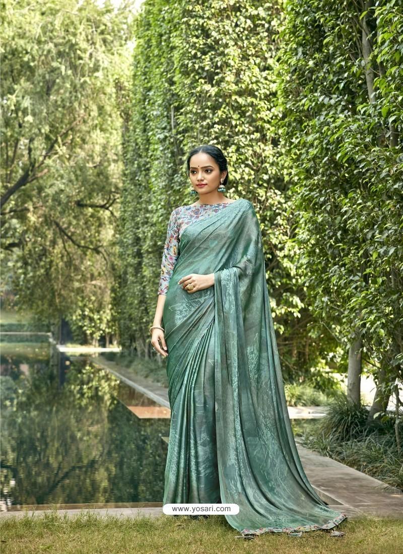Aqua Mint Designer Party Wear Chiffon Sari