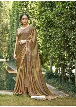 Mustard Designer Party Wear Chiffon Sari