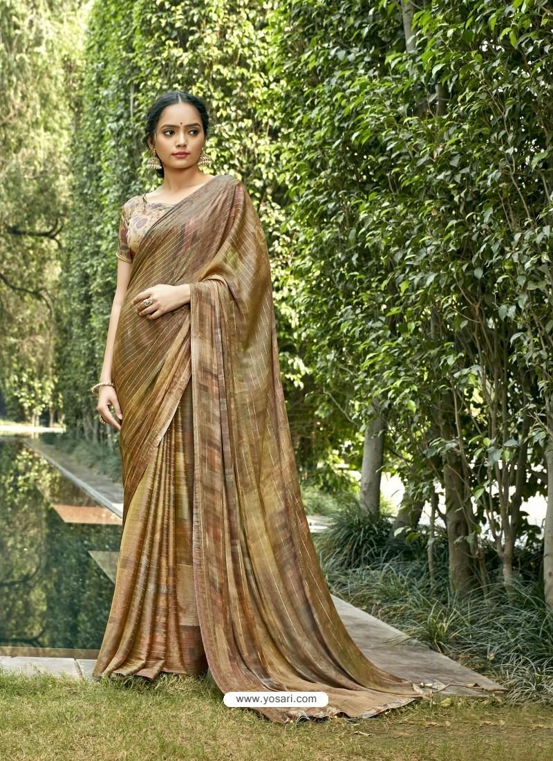 Mustard Designer Party Wear Chiffon Sari