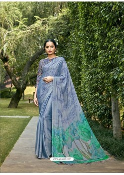 Aqua Grey Designer Party Wear Chiffon Sari