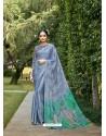 Aqua Grey Designer Party Wear Chiffon Sari
