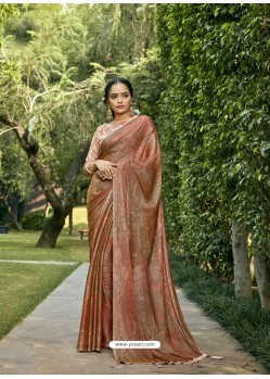 Rust Designer Party Wear Chiffon Sari