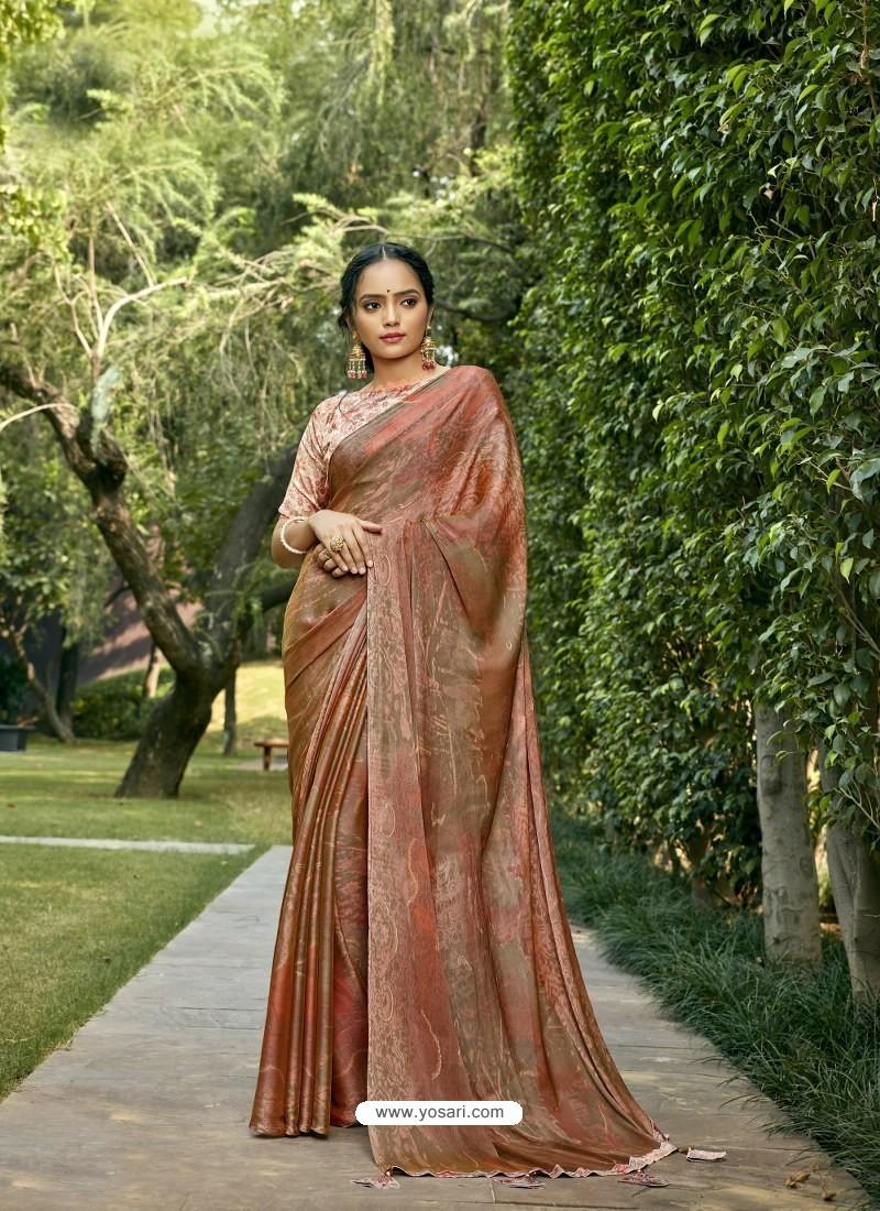 Rust Designer Party Wear Chiffon Sari