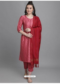 Peach Designer Readymade Party Wear Kurti Palazzo With Dupatta