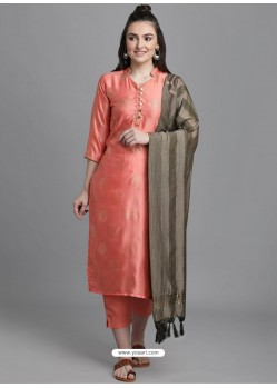 Light Orange Designer Readymade Party Wear Kurti Palazzo With Dupatta
