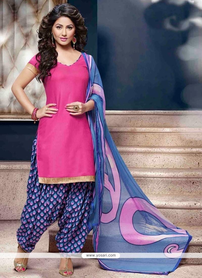 Mesmerizing Pink Lace Work Cotton Designer Patiala Suit