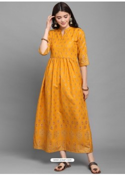 Mustard Designer Readymade Party Wear Long Kurti