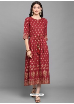 Maroon Designer Readymade Party Wear Long Kurti