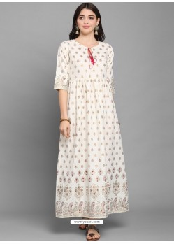 White Designer Readymade Party Wear Long Kurti