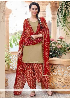 Karishma Kapoor Cotton Beige Designer Patiala Suit