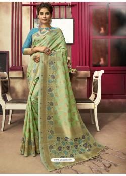 Green Designer Party Wear Jacquard Silk Sari