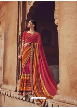 Red Designer Casual Wear Georgette Sari