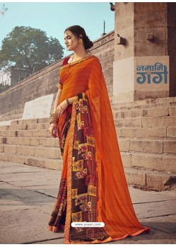 Orange Designer Casual Wear Georgette Sari