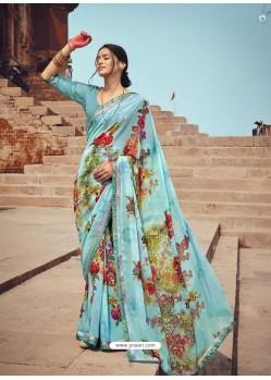 Sky Blue Designer Casual Wear Georgette Sari