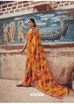 Yellow Designer Casual Wear Georgette Sari
