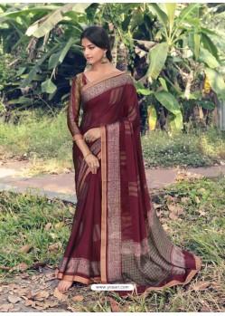 Maroon Designer Casual Wear Chiffon Sari