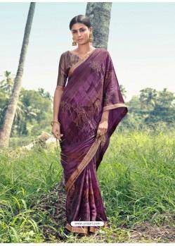 Purple Designer Casual Wear Chiffon Sari