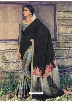 Black Designer Casual Wear Chiffon Sari