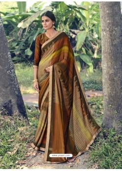 Multi Colour Designer Casual Wear Chiffon Sari