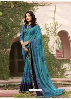 Blue Designer Casual Wear Georgette Sari
