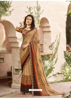 Beige Designer Casual Wear Georgette Sari