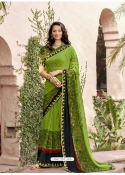 Parrot Green Designer Casual Wear Georgette Sari