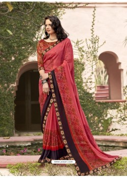 Light Red Designer Casual Wear Georgette Sari
