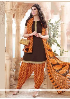 Divine Brown Lace Work Cotton Designer Patiala Suit