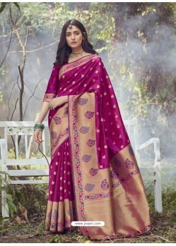 Medium Violet Designer Party Wear Art Silk Sari