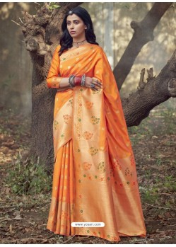 Orange Designer Party Wear Art Silk Sari