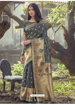 Dark Grey Designer Party Wear Art Silk Sari