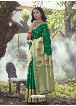 Forest Green Designer Party Wear Art Silk Sari