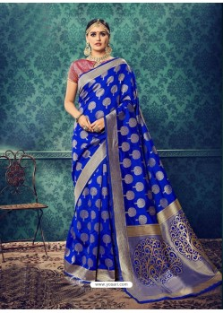 Royal Blue Latest Designer Party Wear Sari