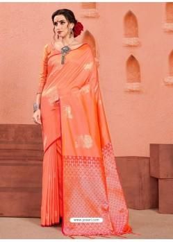 Orange Latest Designer Party Wear Sari