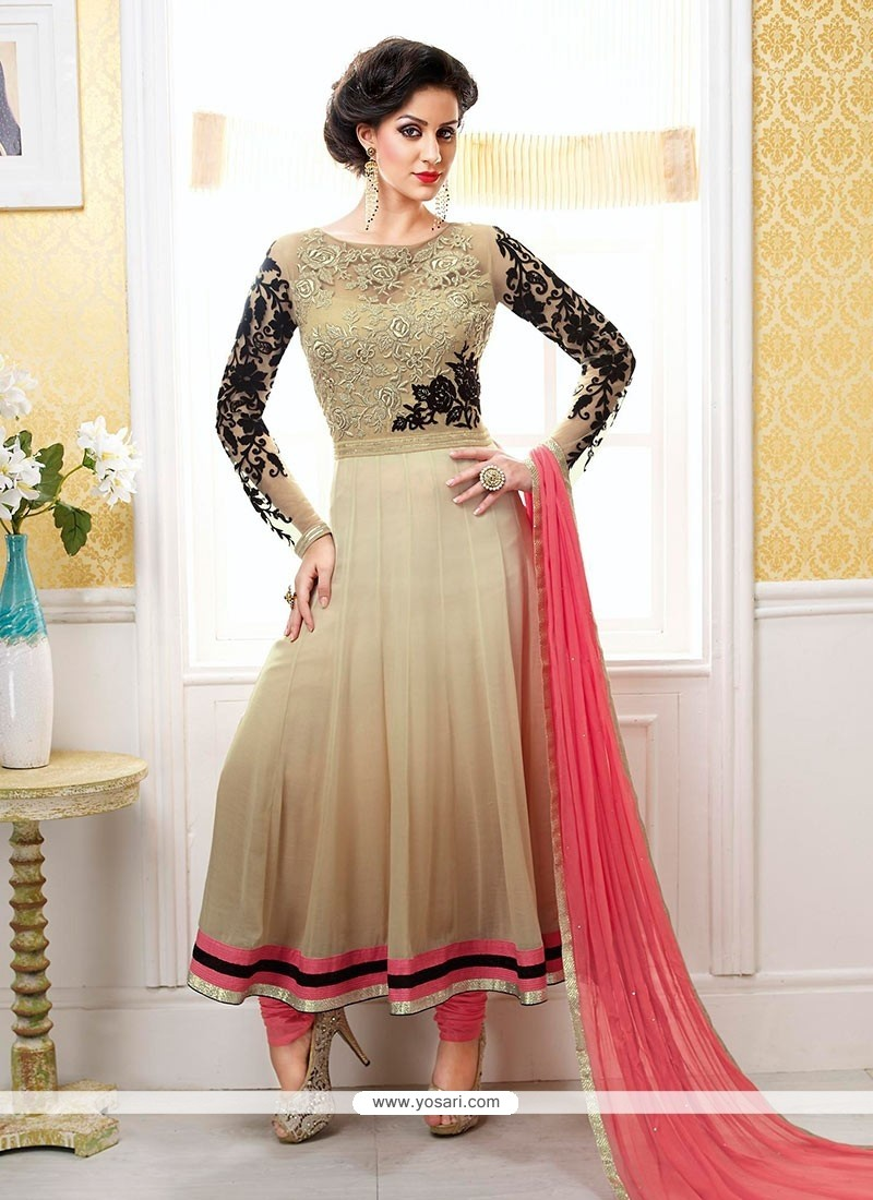 Luxurious Beige Chiffon Designer Anarkali Suits