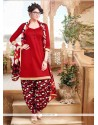 Jazzy Red Lace Work Cotton Designer Patiala Suit