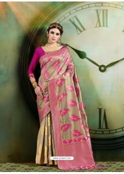 Taupe Latest Designer Party Wear Sari