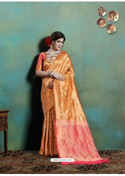 Mustard Latest Designer Party Wear Sari