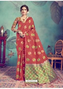 Crimson Latest Designer Party Wear Sari