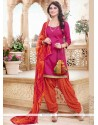 Pink Cotton Designer Patiala Suit