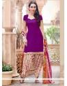 Karishma Kapoor Violet Cotton Designer Patila Salwar Suit