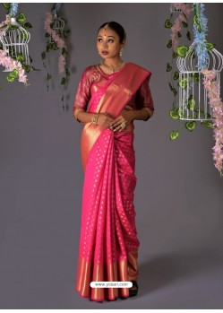 Hot Pink Designer Party Wear Kanjeevaram Silk Sari