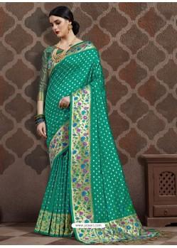 Aqua Mint Latest Designer Party Wear Sari
