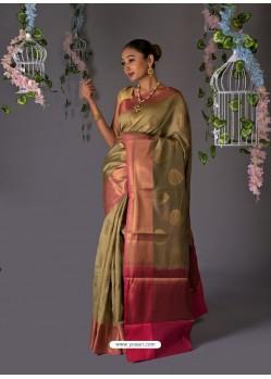 Taupe Designer Party Wear Chanderi Cotton Sari