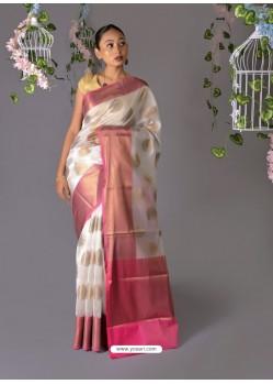 White Designer Party Wear Chanderi Cotton Sari