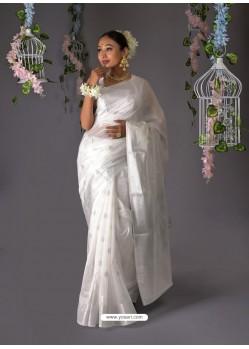 White Designer Party Wear Banarasi Silk Sari