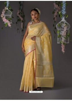 Light Yellow Designer Party Wear Banarasi Silk Sari