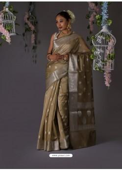 Taupe Designer Party Wear Banarasi Silk Sari