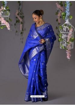 Royal Blue Designer Party Wear Banarasi Silk Sari